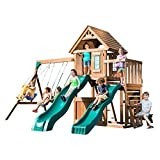 Swing-N-Slide WS 8353 Knightsbridge Deluxe Wooden Swing Set with Two Slides, Climbing Wall, Swings, Glider & Picnic Table, Wood