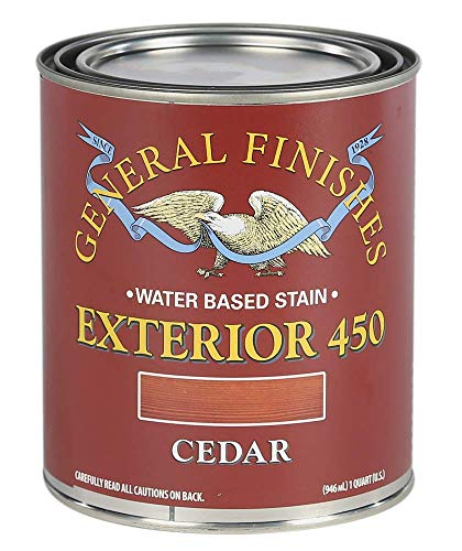 General Finishes Exterior 450 Water Based Wood Stain, 1 Quart, Cedar
