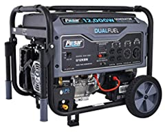 12, 000 peak watts/ 9, 500 Rated watts (gasoline) & 10, 800 peak watts/ 8, 550 Rated watts (LPG) Dual fuel capability allows you to choose between gasoline & LPG fuel sources; great for emergency situations or natural disaster as LPG may be more read...