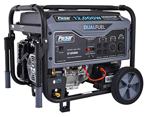 Pulsar G12KBN Heavy Duty Portable Dual Fuel Generator - 9500 Rated Watts & 12000 Peak Watts - Gas &...