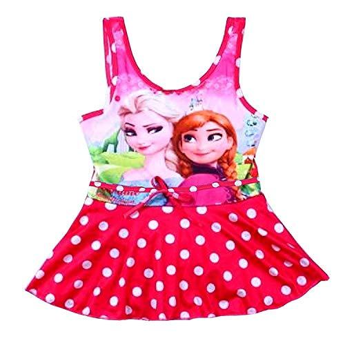 Taglia 110-5 - 6 Anni - Costume da Bagno - Elsa & Anna - Adatto a Bambina - Colore Fuxia - Intero a Pois con Gonnellina