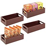 mDesign Bamboo Wood Compact Food Storage Bin with Handle for Kitchen Cabinet, Pantry, Shelf to Organize Seasoning Packets, Powder Mixes, Spices, Packaged Snacks - 4 Pack - Espresso Brown