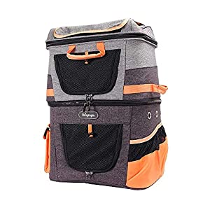 ibiyaya Double-Compartment pet Carrier Travel Backpack for Small Cats and Dogs, Perfect for Outdoor Sightseeing Hiking Camping Trips