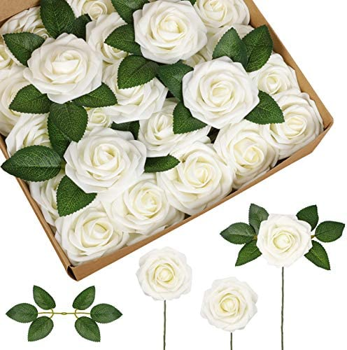 InnoGear Artificial Flowers 50 Pcs Faux Flowers Fake Flowers Ivory Roses Perfect for DIY Wedding product image