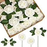 InnoGear Artificial Flowers, 50 Pcs Faux Flowers Fake Flowers Ivory Roses Perfect for DIY Wedding Bouquets Centerpieces Bridal Shower Party Home Flower Arrangement Decorations
