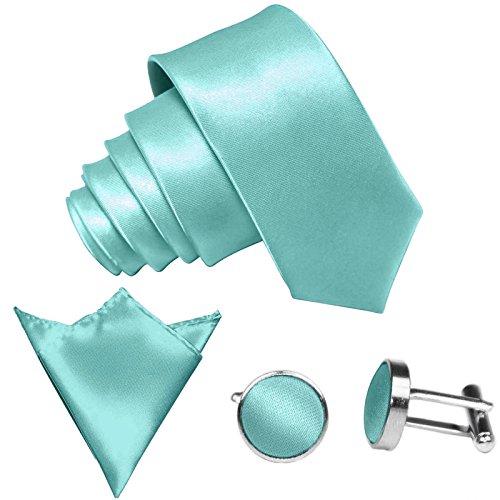 GASSANI 3-SET Krawattenset, 8,5Cm Breite Mint-Gruene Herren-Krawatte Schmal Manschettenknöpfe Ein-Stecktuch, Bräutigam Hochzeitskrawatte Glänzend