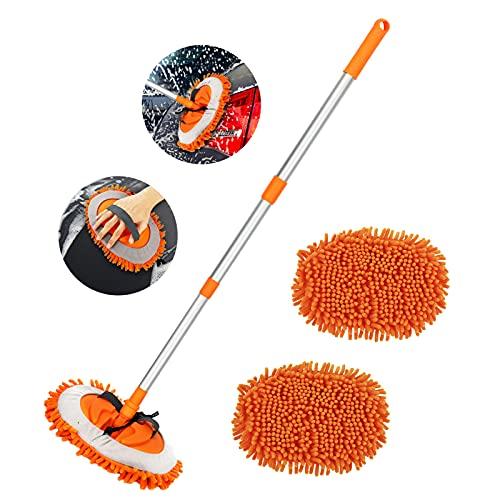 LINGSFIRE Kit de Nettoyage Voiture, Brosse de Lavage Voiture avec Chenille Microfibre Balai Brosse à Manche Nettoyage Voiture Brosse avec 3 têtes de vadrouille pour Nettoyer Voiture (Orange)