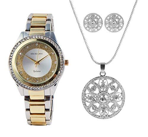Excellanc Conjunto de joyas para mujer con reloj, cadena y pendientes brillantes analógicos de cuarzo 1800174