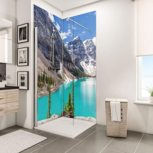 Schulte Duschrückwand Set über Eck, Bergsee, 2 x 90x210 cm, Wandverkleidung aus 3 mm Aluminium-Verbundplatte als fugenloser Fliesenersatz
