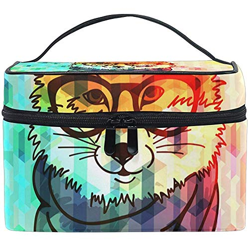 Hipster Fashion Fox Cosmetic Bag Travel Makeup Train Cases Storage Organizer