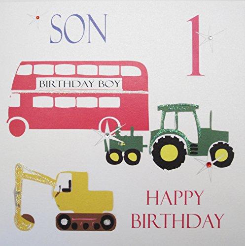 White Cotton Cards NS 2.54 cm bus Tractor Bagger verjaardagskaart voor zoon, 1e verjaardag, voor jongens voor de 1e verjaardag, handgemaakt