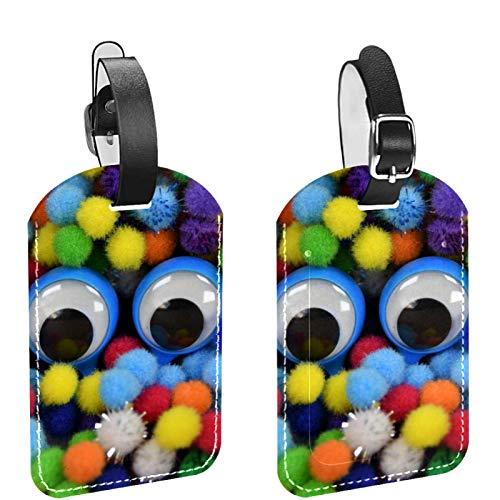 Etiqueta inicial para equipaje de viaje, totalmente flexible, de piel sintética, juego de 2 piezas de pompón colorido