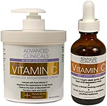 Advanced Clinicals Vitamin C Skin Care set for face and body. Spa Size 16oz Vitamin C cream and Vitamin C face serum for dark spots, age spots, uneven skin tone in as little as 4 weeks!
