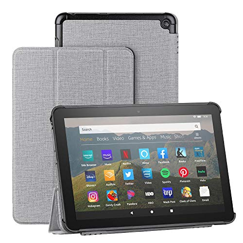 Foluu - Funda para tablet Kindle Fire HD 8 y Fire HD 8 Plus (10ª generación, versión 2020), diseño delgado y ligero con triple soporte de PU para el nuevo Kindle Fire HD 8 2020 (gris)