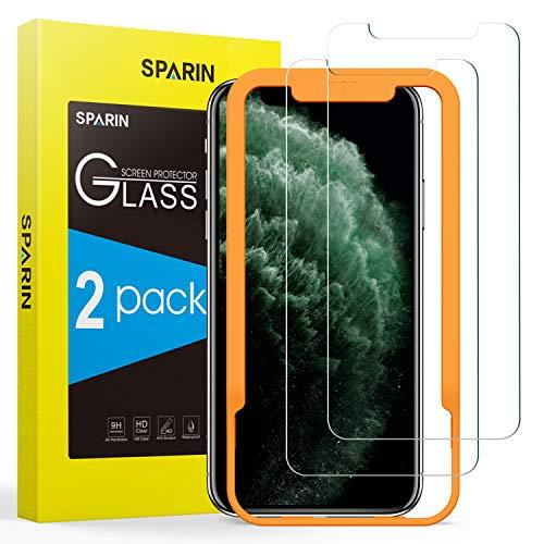 SPARIN 2 Pack Protector de Pantalla Compatible con iPhone 11 Pro, iPhone XS y iPhone X, Sin Cobertura Toda, Cristal Templado con Marco de Alineación