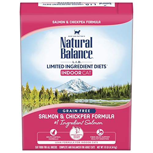 Natural Balance L.I.D. Limited Ingredient Diets Dry Cat Food for Indoor Cats, Salmon & Chickpea Formula, 10 Pounds, Grain Free