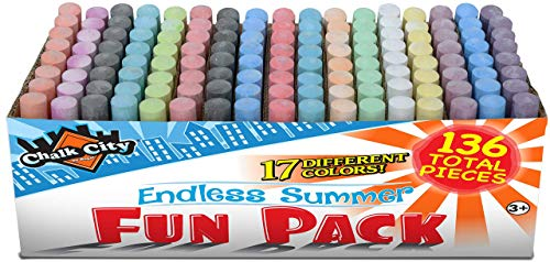 Chalk City  136 Pack 17 Colors Jumbo Washable Sidewalk Chalk Set Great for Playground Outdoor use or Gift for Birthday Party