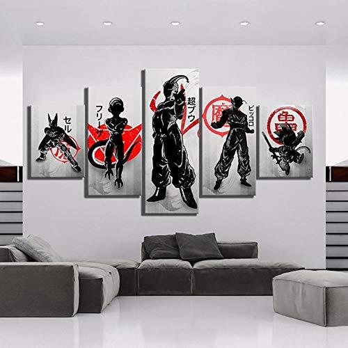 TXFMT Geen frame canvas decoratie schilderij handgemaakte DIY Print schilderij muur kunst 5 panel Super Combat karakter Wukong cartoon foto modulaire canvas poster moderne huisdecoratie nachtkastje achtergrond wal 150*100CM