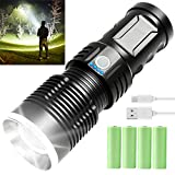 Rechargeable Flashlights High Lumens, 90000 Lumens Super Bright Led Flashlight Powerful Tactical Flashlight with Batteries Included, 3 Modes, Zoomable, Waterproof Flashlight for Emergencies, Camping