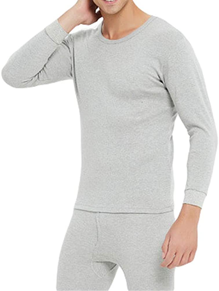Mens Ultra Soft Cotton Thermal Underwear Stretchy Long Johns Set Base Layer Thermal Top and Bottom