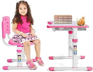 Bureau d'étude pour enfants à hauteur réglable, ensemble de chaise de bureau d'étude pour enfants Bureau d'étudiant avec s...