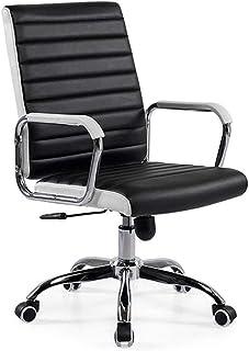 オフィスチェアPUレザー傾斜人間工学に基づいたデザイン360°回転調節可能なシート高コンピュータチェア、ブラック