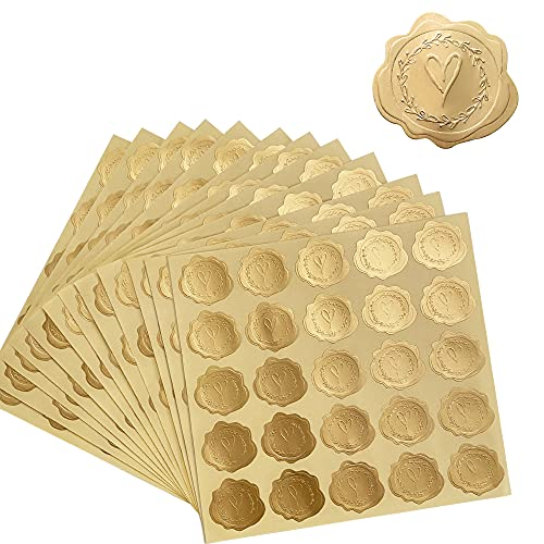 DreamBuilt 300pcs Gold Embossed Wax Seal Looking Heart Envelope Seals for Wedding Invitations / Greeting Cards / Party Favors, Self-Adhesive
