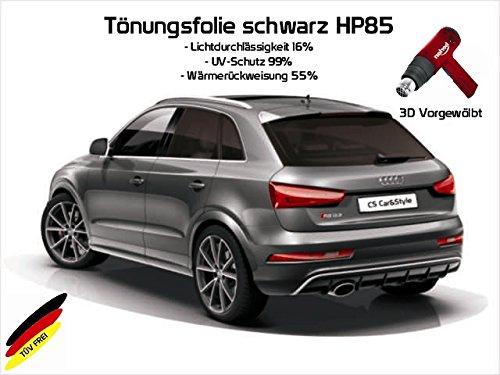 3 D Tönungsfolie passgenau vorgewölbt kompatibel mit BMW X3 E83 BJ. 01/04-10/10 (schwarz HP 85 Lichtdurchlässigkeit 15% Wärmerückweisung 55%)