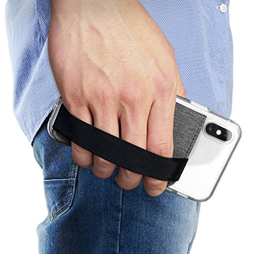 Ringke Flip Phone Card Holder met Elastische Band 3M Zelfklevende Telefoon Portemonnee Geval Stok Op ID Credit Kaarthouder voor iPhone, Galaxy, LG, Google Telefoon Hoesje - Grijs