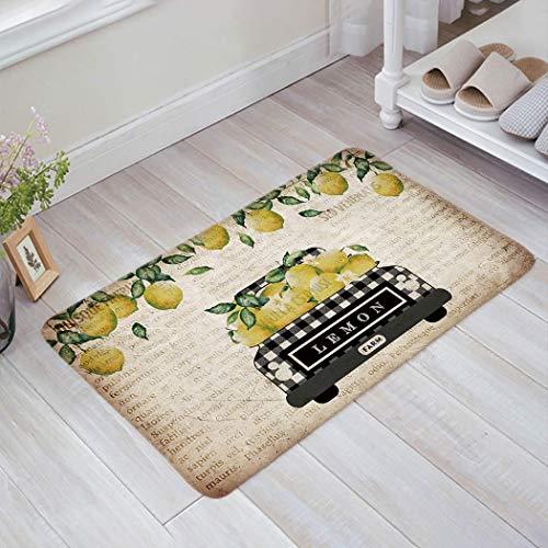 """Granbey Lemon Rug Indoor Doormat Decor Carpet for Entrance Living Room Bedroom Kitchen, Vintage Newspaper Truck Loads Fresh Farm Lemons, Lemon Kitchen Decor and Accessories 16""""x24"""""""