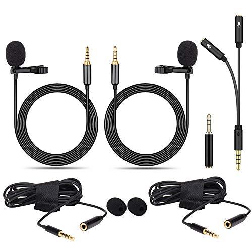 GeekerChip Microfono de Solapa[2 Piezas],3.5mm Mini Lavalier Micrófono de Condensador con Adaptadore y 2 Cable de Extensión,para Grabación Entrevista/Videoconferencia/Podcast/Dicción de Voz