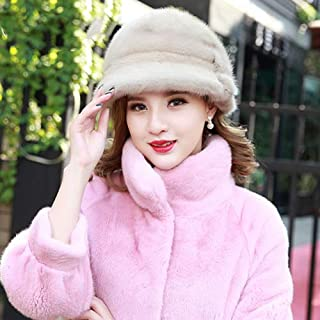 Otter Hat Female Turban Fur Hat Female Sun Hat Fisherman Hat Warm in Autumn and Winter Gray