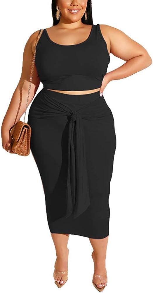 Ophestin Women Sexy Plus Size 2 Piece Dress Outfit Solid Tank Top Midi Skirt Set