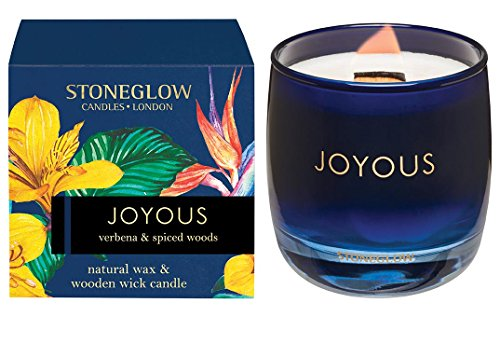 Stoneglow Infusion - Verbena & Spiced Woods Candle in Glass Tumbler (Navy) Joyous