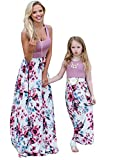 GORIFE Parent-Child Dress Family Outfits Mommy and Me Matching Dress Long Sleeve Dress Purple Hua M