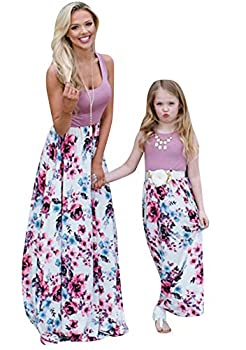 GORIFE Mother and Daughter Striped Stitching Dress Casual Long Maxi Dress with Plus Size Purple Hua S