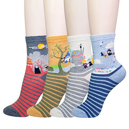KONY Women's Funny Cartoon Japanese Animation Crew Socks Casual Cotton Gift (Miyazaki – 4 pairs)