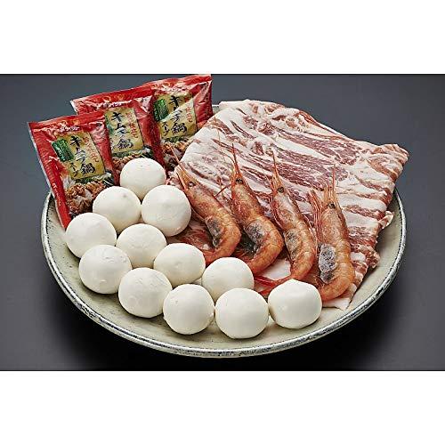 ( 産地直送 お取り寄せグルメ ) 冬の旨辛じゃが豚鍋(じゃが豚12玉、豚バラ肉100g、エビ4尾、鍋スープ3袋)