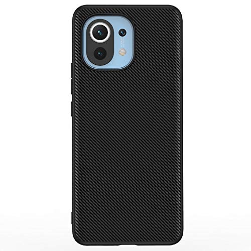 DOOTOO for for Xiaomi Mi 11 Case Luxury Carbon Fiber Leather Hybrid PC Shockproof Protection Cover Case for Xiaomi Mi 11 (Carbon Fiber Black)