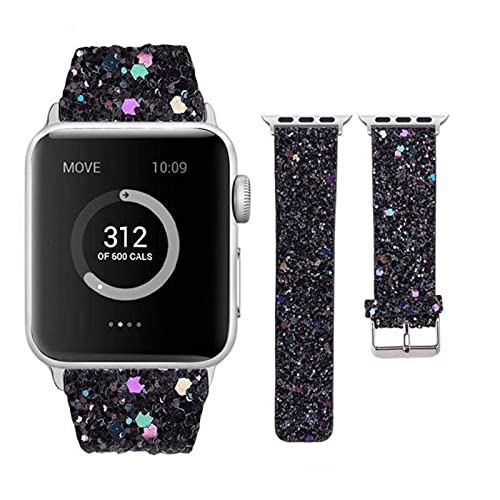 Correa de cuero para Apple Watch 38 mm 40 mm Mujer Diamante 42 mm 44 mm Correa genuina con purpurina brillante iWatch Series 5 4 3 2 1
