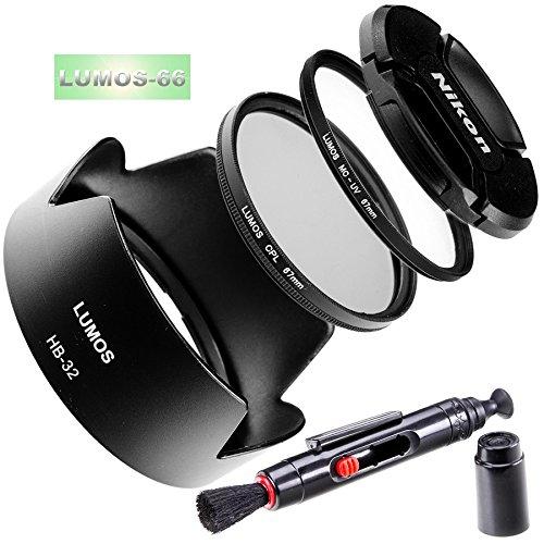 Lumos Inspiration HB 32Set di accessori per obiettivo Nikon AF-S DX NIKKOR 18–70& 18–105e 18–135e 18–140mm/Paraluce a baionetta HB 32& Lumos Slim Filtro UV MC 67mm & CPL polarizzatore & copriobiettivo & Lenspen D5300D5500D7200d5600