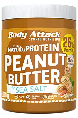 Body Attack Protein Peanut Butter, 1kg, Sea Salt, Vegan, Natürliche Erdnussbutter ohne Zucker, Salz & Palmfett - Low Carb Erdnussmus mit 30% Protein