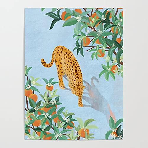 gör-det-själv oljemålning, Leopard och apelsinträd måla efter nummer kit för vuxna nybörjare, kreativ målning på duk 40x50cmRamlös