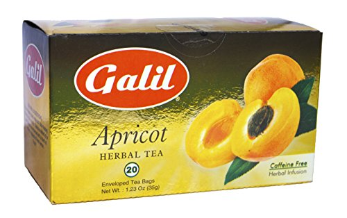 Galil Tea, Apricot - 20 Count Boxes (Pack Of 6) - Herbal Tea - Naturally Caffeine Free - Certified Kosher
