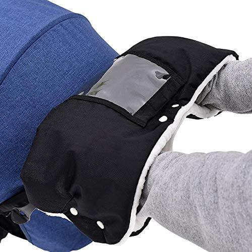 Gantsl - Guantes, anticongelante para cochecito/cochecito, accesorio para cochecito de invierno, cómodo, suave, cálido, impermeable y cortavientos, color negro