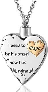 ZARABE Cremation Urn Jewelry in My Heart AlwaysHeart Keepsake Memorial Engraved Necklace