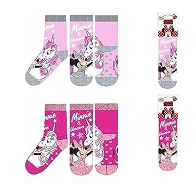 Le fantasie di casa Calcetines antideslizantes para niña talla 31/34 juego de 2 piezas Minnie con unicornio de algodón con licencia Disney.