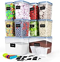 Airtight Food Storage Container Set 10 Pack - Kitchen Pantry Organization Containers, Plastic Canister for Flour, Sugar...
