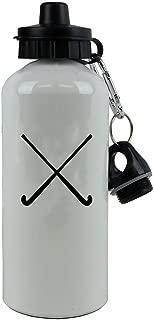 Personalized Custom Crossed Field Hockey Sticks Aluminum White Finish 20 Ounce 600ML Sport Water Bottle Customizable