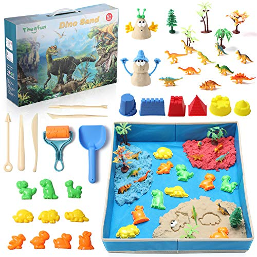 Theefun Play Sand Kit for Kids, 3lbs PlaySand with 3 Colors , Free Sandbox with Shaping Molds, Marine Animal Figures , Non-Toxic Sand Set for Boys and Girls
